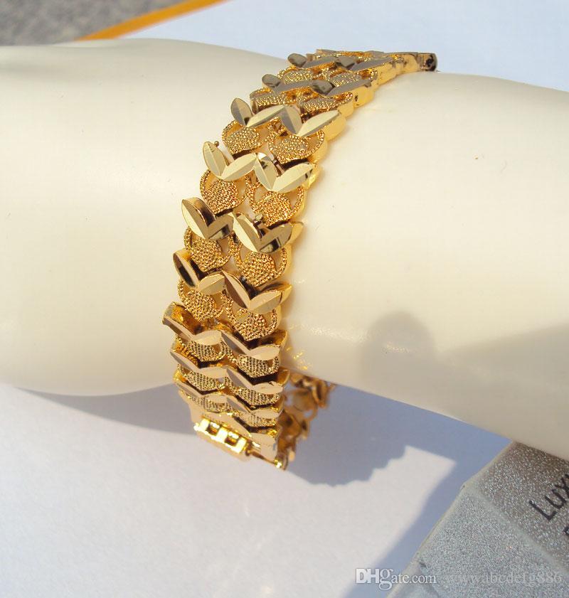 الرجال والنساء 24 كيلو 24CT الذهب الأصفر الجميلة الطبقات WIDE اليورو كبح رابط سوار 26 غرام سيدات S736