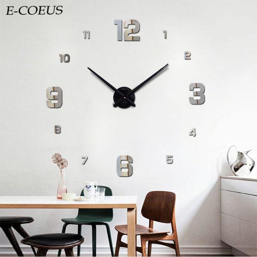 2018 Exquisito Hermosa Nueva Llegada Etiqueta Sala de estar Decoración Diy Gran Espejo Digital Reloj de Pared relojes de cuarzo relojes saat
