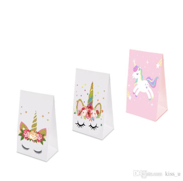 Licorne Sac En Papier Licorne Partie Anniversaire Décorations De Fête Enfants 100pcs Rose Licorne Cadeau Sac Faveurs De Mariage Et Cadeaux