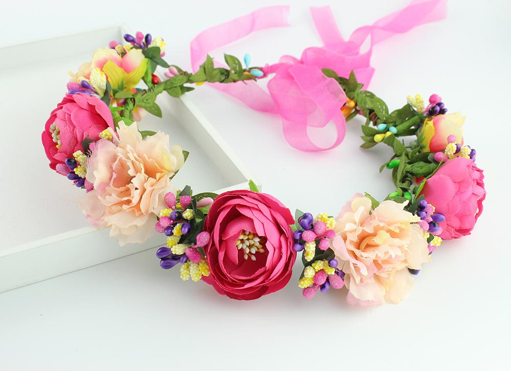 11 ألوان النسيج اليدوية زهرة الكاميليا تاج العروس اكسسوارات الشعر حفلة موسيقية زهرة إكليل للأطفال إكليل الصحة