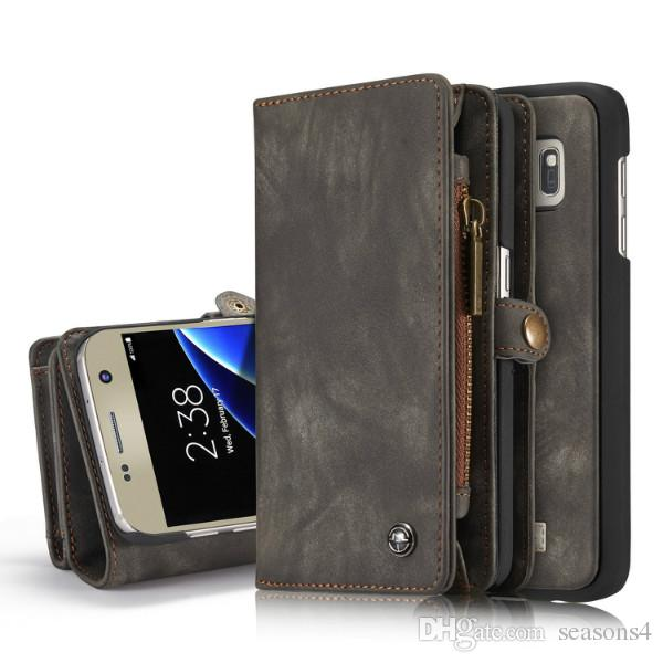 CaseMe Phone Case For Samsung Galaxy S7 S7 Edge Genuine Leather Zipper Multifunction Wallet 2 In1 Design Phone Full Cover Case