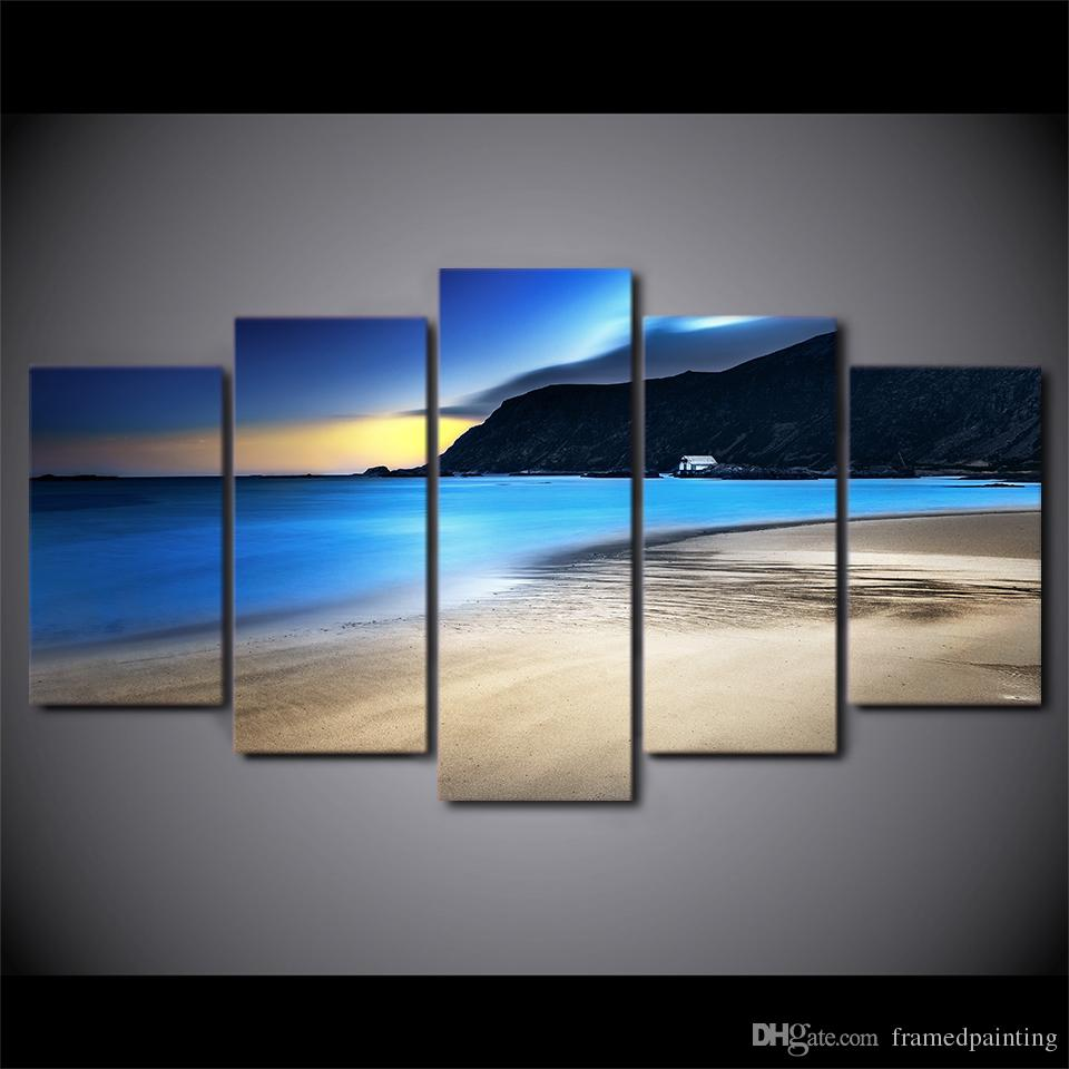 HD Printed 5 Piece Canvas Art Nature Coast Dawn Pictures for Living Room Modern Free Shipping Canvas Painting