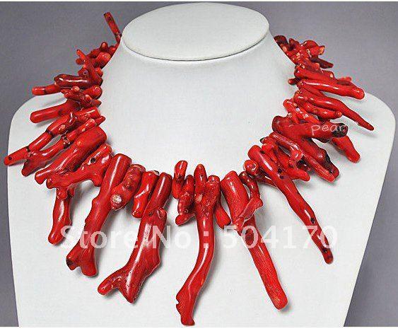 Rare Natural Red Coral Colar 18 Polegada Traje Africano Coral Beads Jóias 5 Cores Frete Grátis CN004