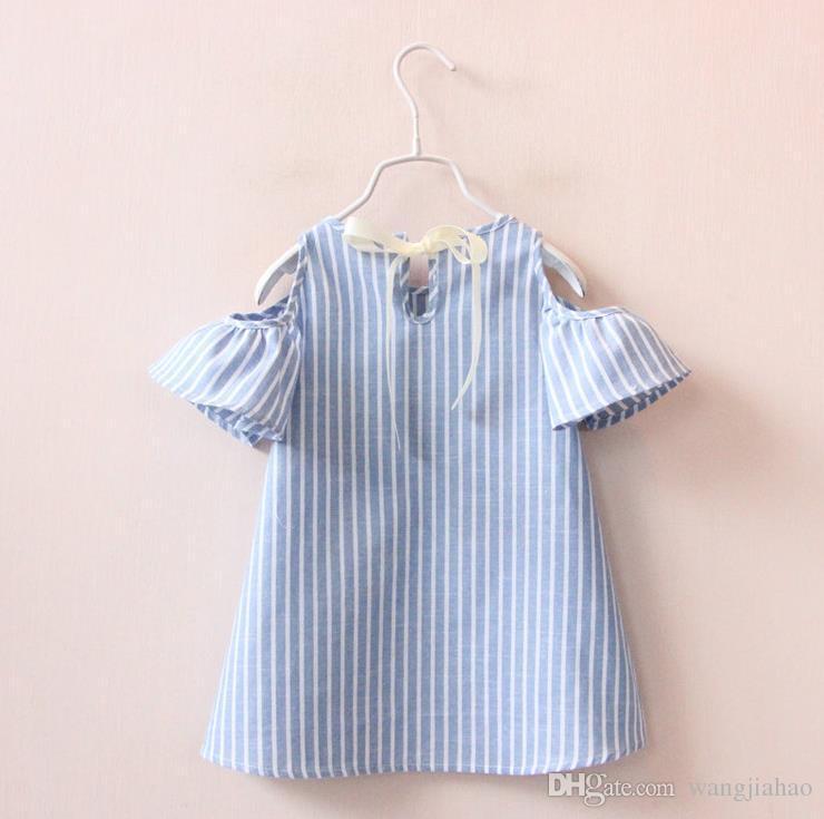 2018 달콤한 아이 소녀 줄무늬 여름 드레스 퍼프 슬리브 및 활 귀여운 캐주얼 드레스 블루 컬러 패션 드레스