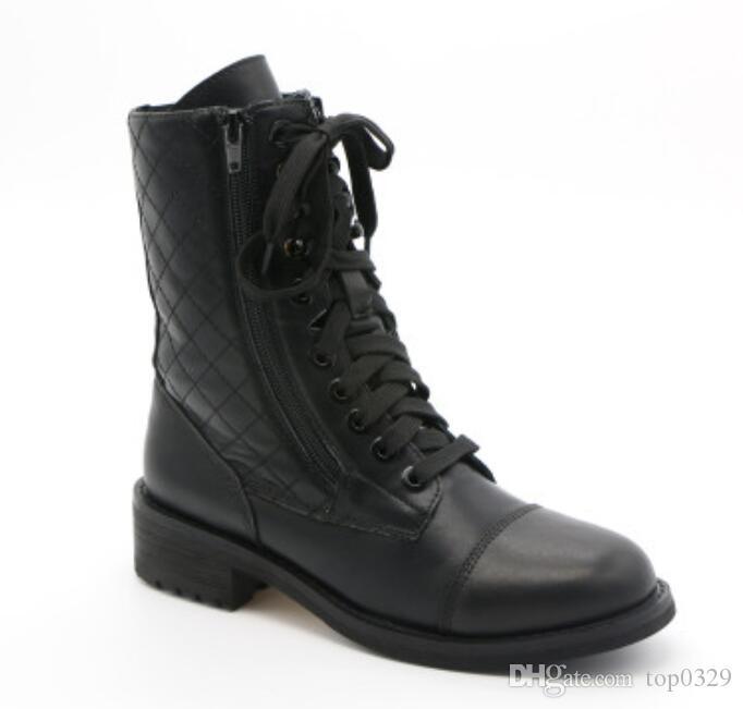 Women winter boots Boutique luxury original fashion brand Classic Genuine Leather sexy Lingue Lace tie zipper short Martin boots