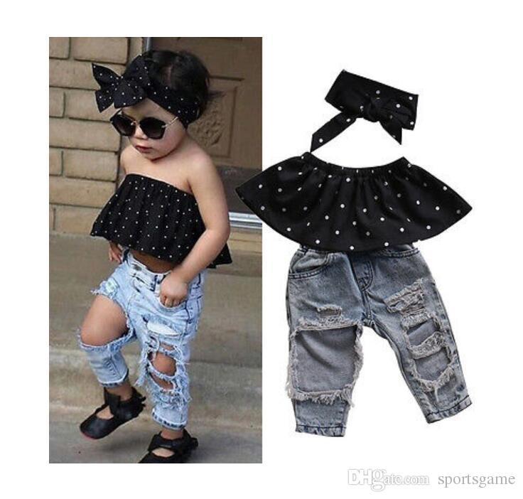 Infantil Do Bebê Meninas Roupas Conjuntos Dot Mangas Tops Colete Buraco Calças Jeans Headband 3 pcs Conjunto de Roupas de Bebê Menina