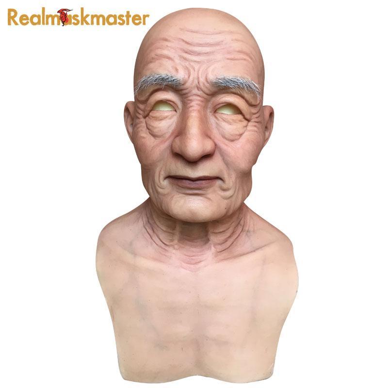 Atacado realista de silicone máscara do dia das bruxas fontes do partido de látex artificial adulto homem velho máscaras faciais fetiche