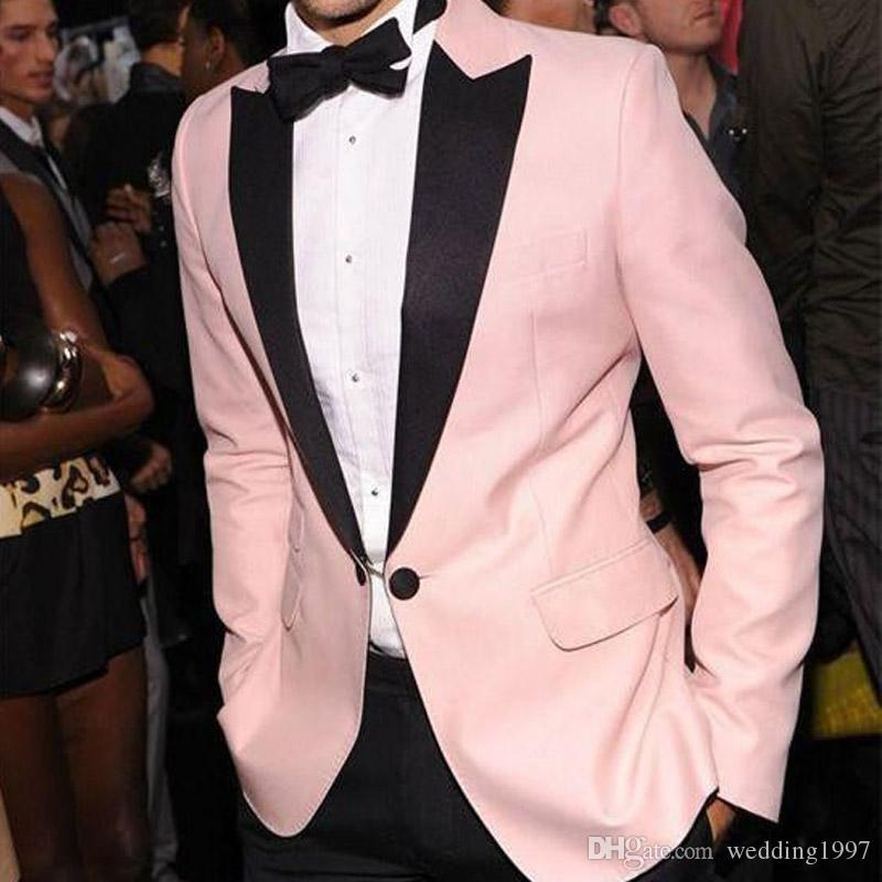 Pink Wedding Evening Party Formal Men Suits 2018 Black Peaked Lapel Two Piece Wedding Groom Tuxedos Custom Made (Jacket + Pants )