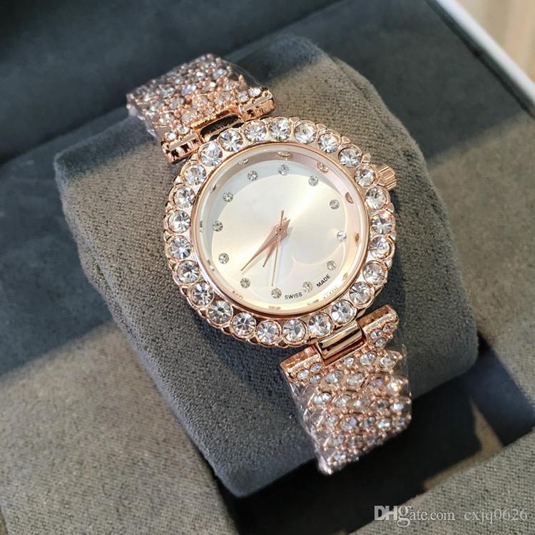 좋은 새로운 모델 패션 럭셔리 여성 시계 다이아몬드 특별 디자인 Relojes 드 마르카 Mujer 레이디 복장 손목 시계 석영 시계 로즈 골드