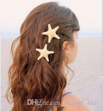 10 adet / grup Kadınlar gelin nedime Kızlar Yeni Güzel Plaj Saç Aksesuar Denizyıldızı Deniz Yıldızı plaj bohemian Saç Klip Firkete takı