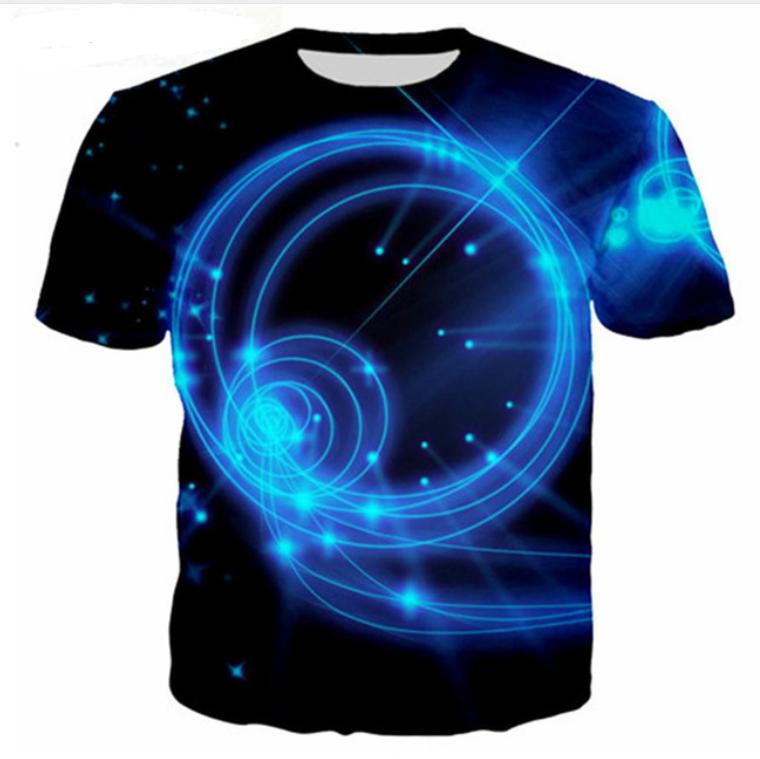 Summer Newest Fashion Womens / Mens Blue Fire Flame Divertido 3D Casual Casual Hip Hop Camiseta DS00230