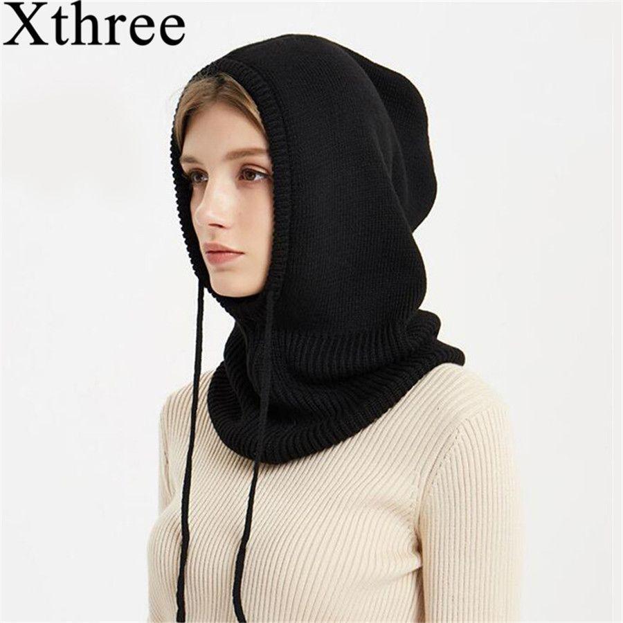 Xthree Cashmere Winter Knitted Hat Beanie Women Scarf Skullies Beanies Winter Hats For Women Men Cap Solid Bonnet Mask Brand Hat D18110102