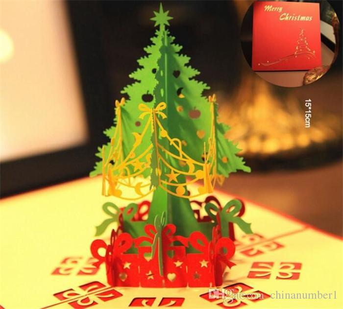50 pcs 3D Cartões de Natal artesanais pop up cartões 3D Handmade Cartão de Presente de Natal Do Vintage Retro Post Cartões C187