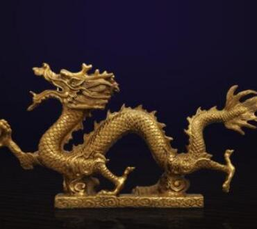 WBY---Brass Dragon Ornament Geomantic money Arts and CraftS