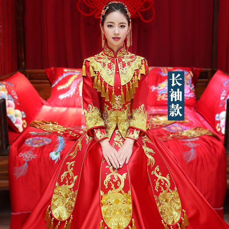 Свадебное платье невесты новый Longfeng привязки китайский свадебное платье красный атлас тост одежда