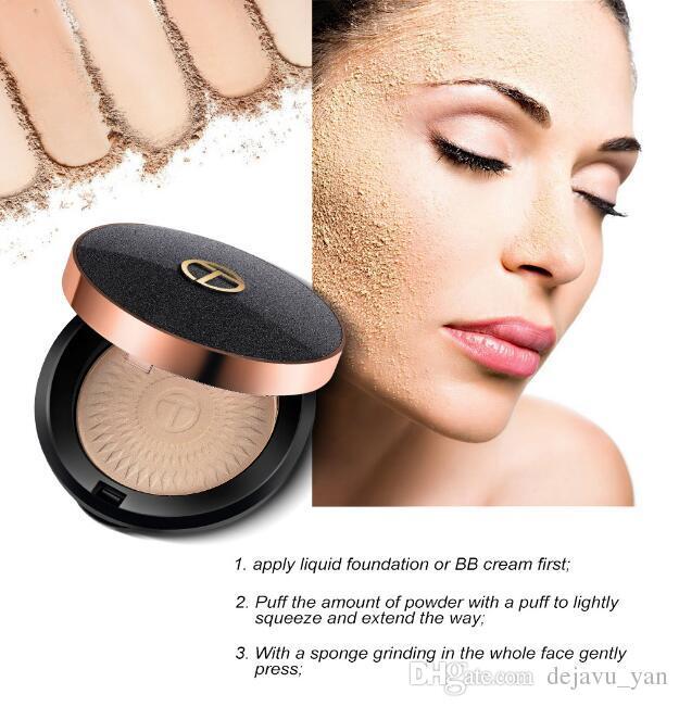 Gratis DHL O.TWO.O 3 Colores Polvo de Maquillaje Facial Polvos Faciales Naturales Fundaciones Aceite-control Brighten Corrector Blanqueamiento Polvo Prensado