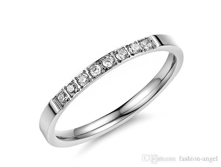 Cadeau de la Saint-Valentin en acier inoxydable 316L de nouvelles femmes sonne quelques bagues pour hommes, bague de mariage bijoux en cristal de zircon 412