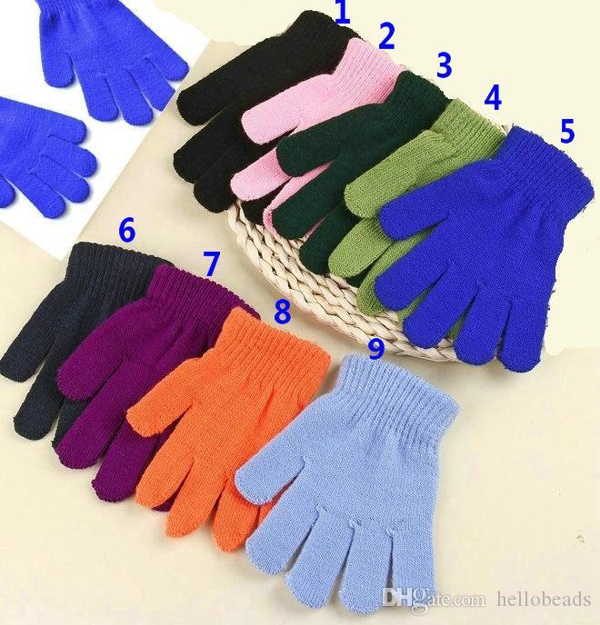 En gros 9 couleurs solides enfants enfants magique hiver gants fille garçons garçons étirement tricotant hiver gants chauds choisir des couleurs