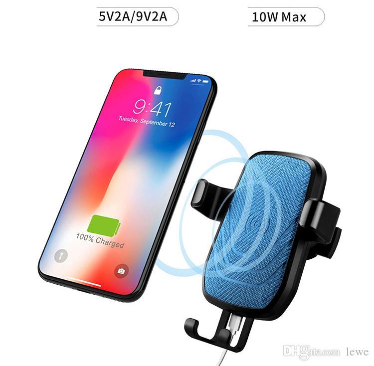 2018 브랜드 새로운 휴대용 초박형 차 홀더 9V2a 입출력 급속 충전 10W 무선 충전기 무선 충전기 마운트