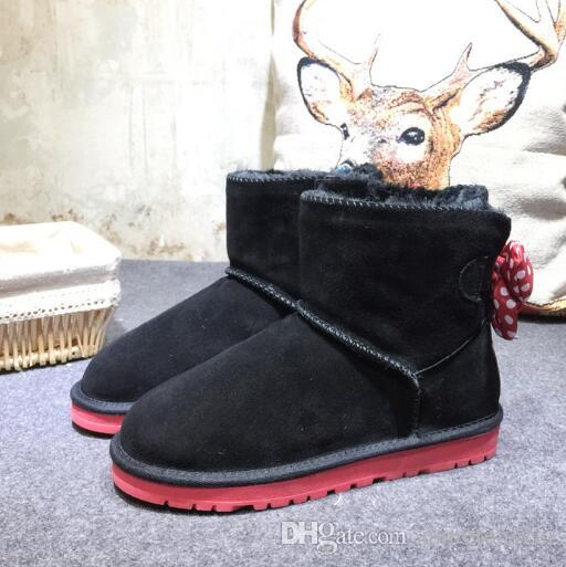 2018 Fashion Australia WGG New Mickey classic tall winter boots real leather Bowknot women's snow boots shoes