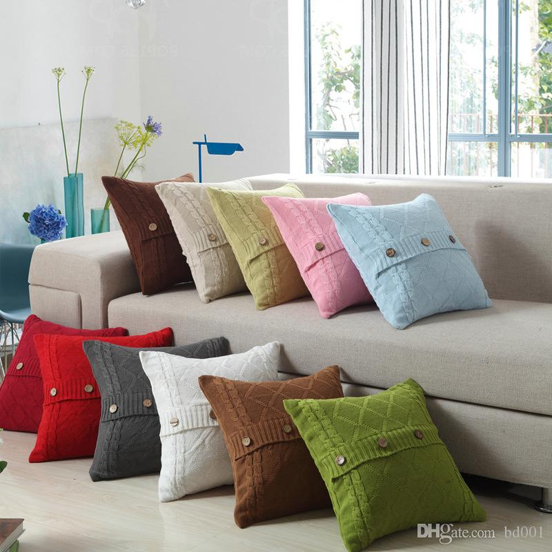 Square Pillowslip Novelty Design Buttons Cushion Cover Multi Color Cotton Knitting Pillow Case For Home Bedroom Decor 22nw ff