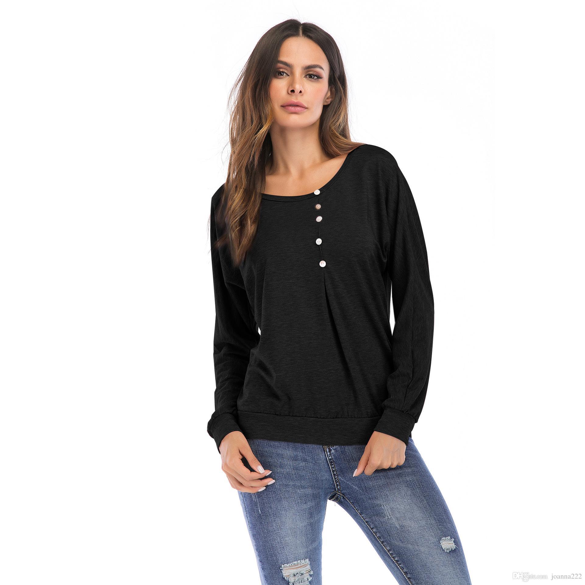 2018 осень горячая мода Женская футболка шею сплошной цвет кнопка декоративные свободные головы с длинными рукавами рубашки