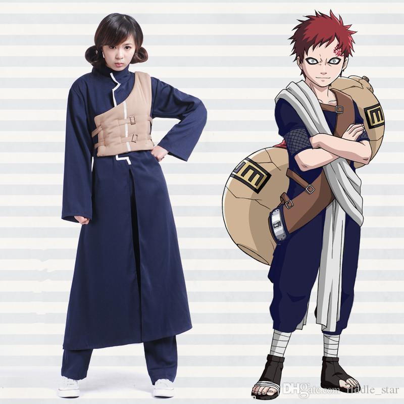 Asya Boyut Japonya Anime Naruto Sabaku No Gaara Cosplay Kostüm Unisex Uzun Kollu Üniforma Cape Cloak