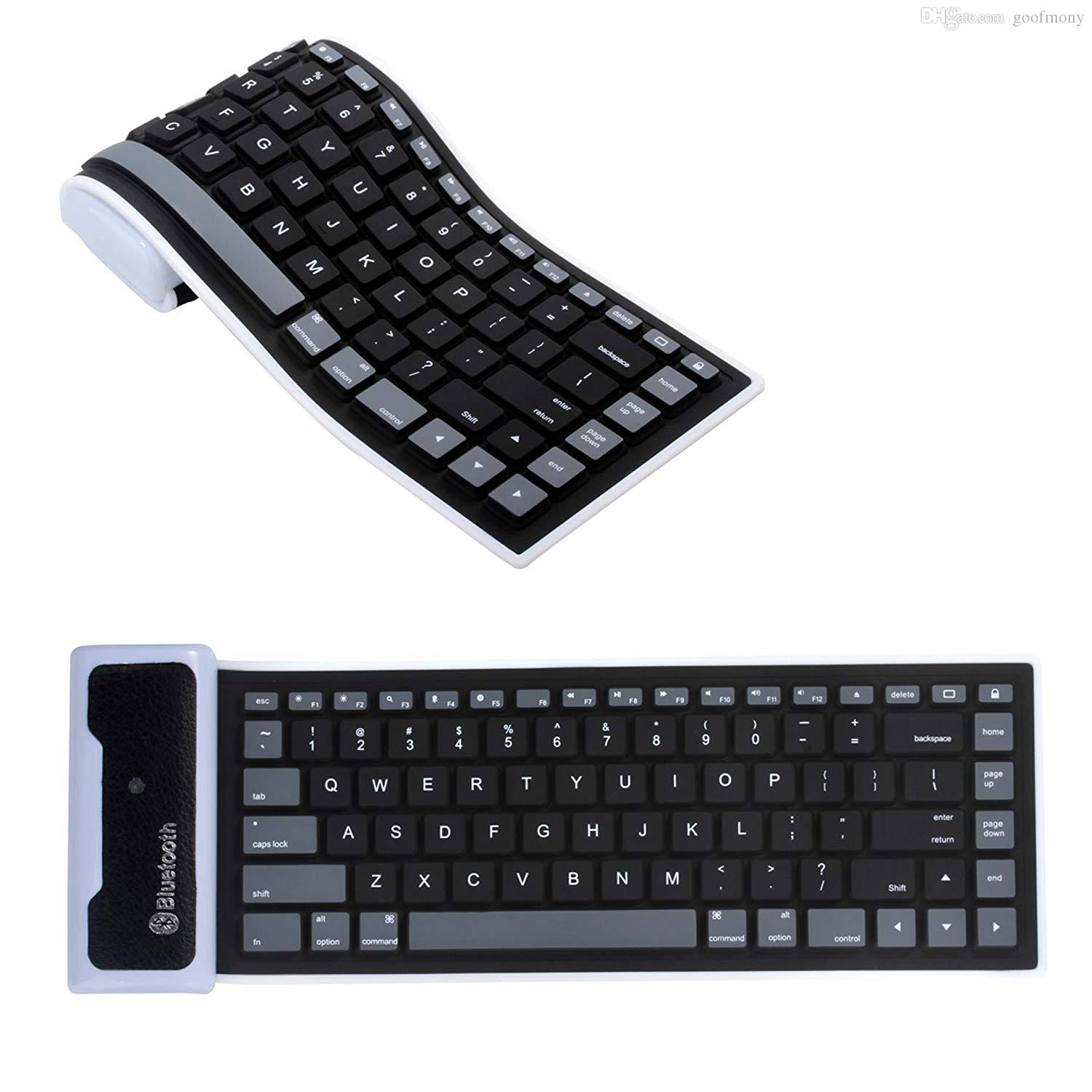 Roll up Mini Bluetooth Tastatur für Pad Tablets Handys Portable Silikon Rollup Wasserdichte Flexible Tastatur Schwarz