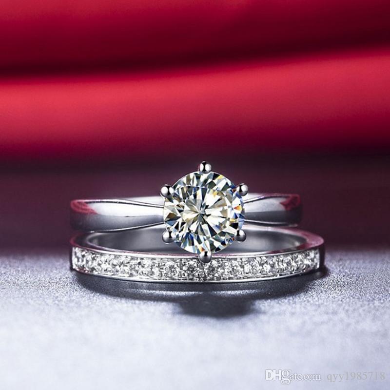 Anello di nozze in argento sterling 2CT all'ingrosso Set 18K oro bianco placcato gioielli con diamanti sintetici anello di fidanzamento impostato per le donne