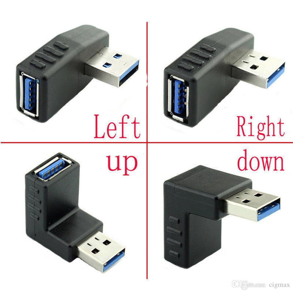 USB 3.0 A Male 90 Degree Down Angled To USB A Female Extension Convertor Adapter