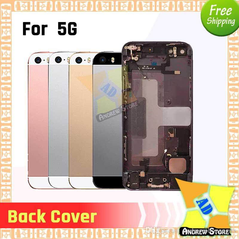 Высокое качество для iPhone 5 5S 5G SE Полный Узел корпуса Крышка батарейного отсека дверь сзади с Flex кабеля Бесплатная доставка