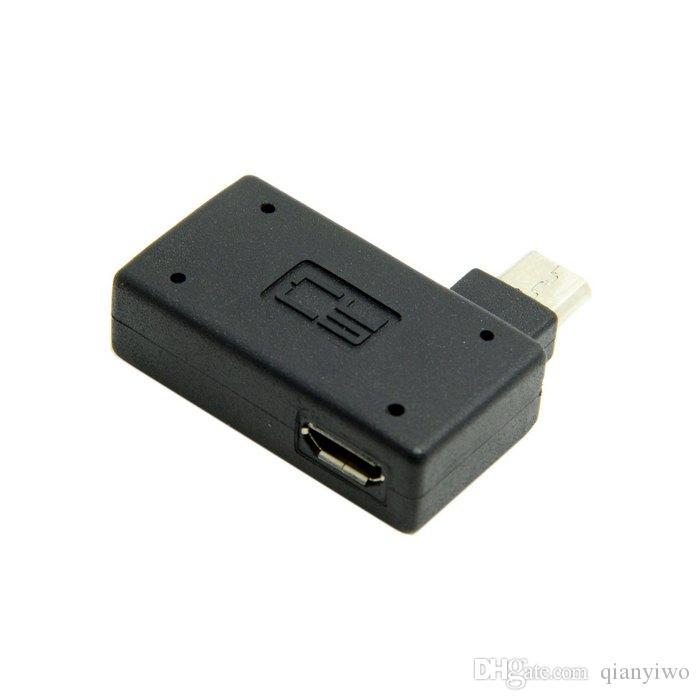 90 grados de ángulo recto Micro USB 2.0 OTG host adaptador con micro USB energía para el teléfono celular androide de la tableta