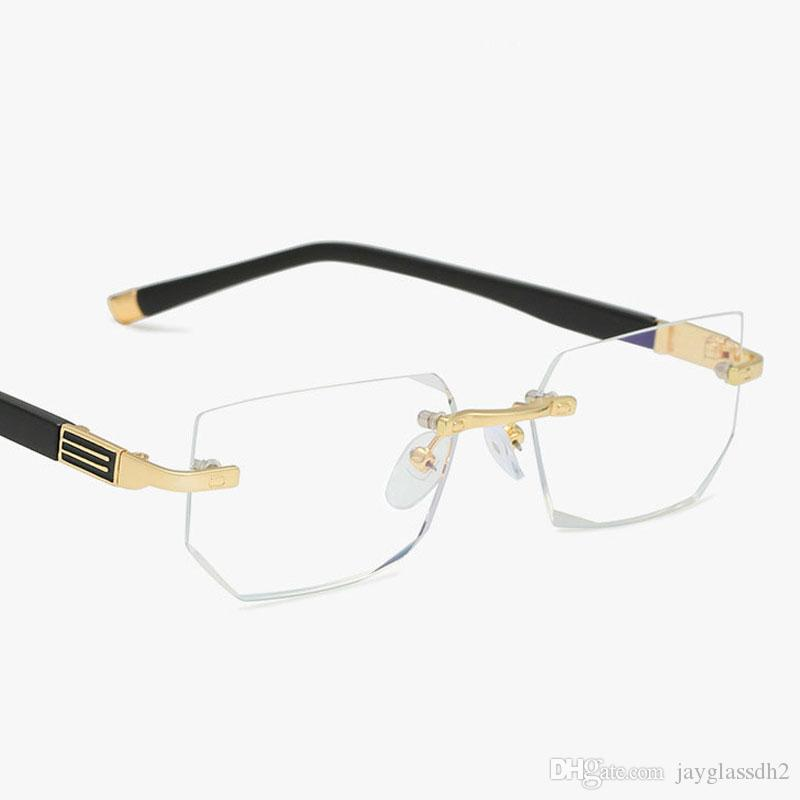 Yeni Okuma Gözlükleri Presbiyopik Gözlükler Şeffaf Cam Lens Unisex Çerçevesiz Anti-mavi ışık Gözlük Çerçevesi Gözlük Gücü + 1.0 ~ + 4.0