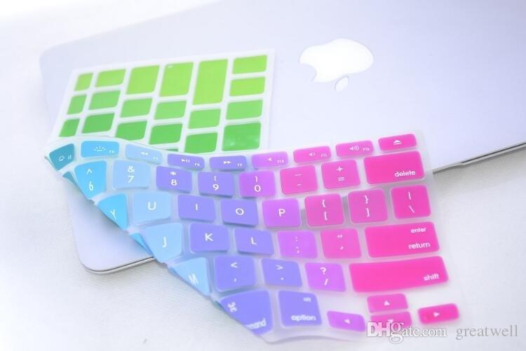 Soft Silicone Rainbow keyboard Case Protector Cover Skin For MacBook Pro Air Retina 11 13 15 17 Waterproof Dustproof US Ver