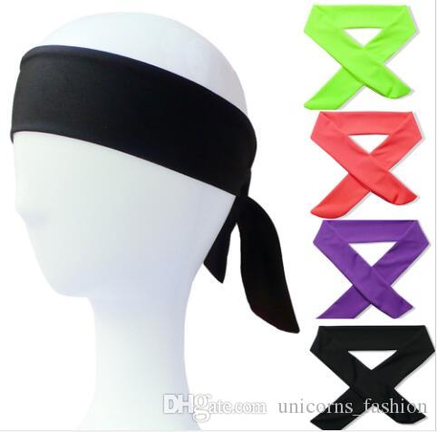 Solid Tie Back Headbands Stretch Sweatbands Hair Band Moisture Wicking Men Women Bands scarves for Sports Running Jogging CNY766