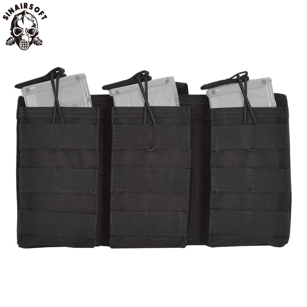 SINAIRSOFT Tactical Triple Open Top 5.56 223 Fast Tactical Magazine Pouch MOLLE Rifle Pistol Mag Tri Holster Ammo Bag High Quality Nylon