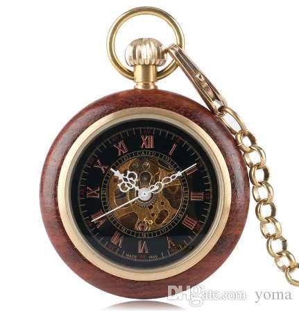 الخشب الميكانيكية الجيب ووتش ريترو اليد متعرجا جوفاء الهيكل العظمي vintag ساعة الرجال هدية سميكة قلادة فوب قلادة