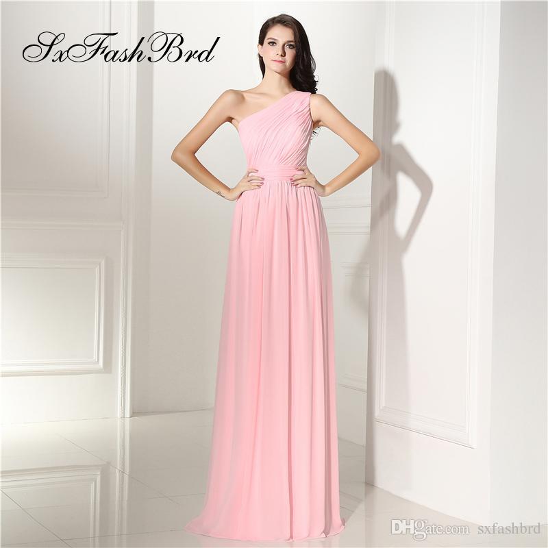 Ocasión especial Vestido elegante de las muchachas con volantes Un hombro Una línea Gasa Fiesta larga Vestidos de noche formales Vestido de fiesta vestido de fiesta