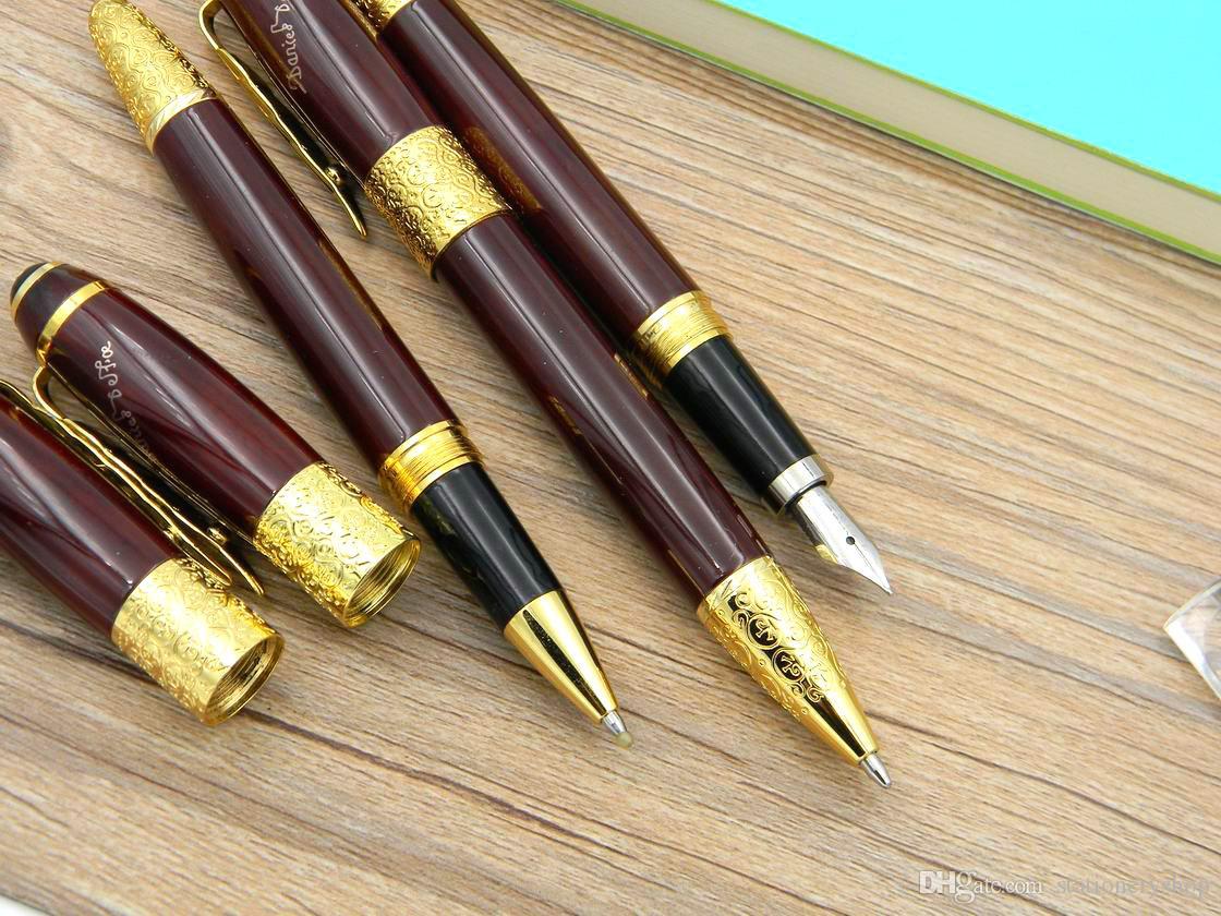 la oficina de negocios de escritura Suministros de oro de escritura Fluidez oscuro escritor Defoe roja Hoja de arce del metal del regalo de la pluma