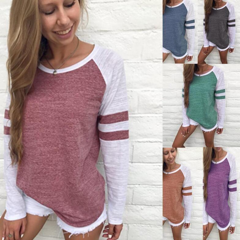 Donne a strisce split da baseball maglietta da baseball primavera estate o collo manica lunga Top Tees Tutta la maglietta abbinata Plus Size 5XL Abbigliamento maternità