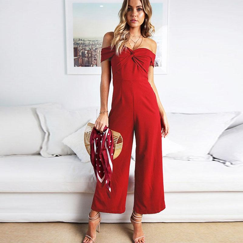 Women Autumn Sexy Backless Jumpsuit Lady Cross Shape Full Length Black Red Off Shoulder Jumpsuit Women Elegant Romper Talever
