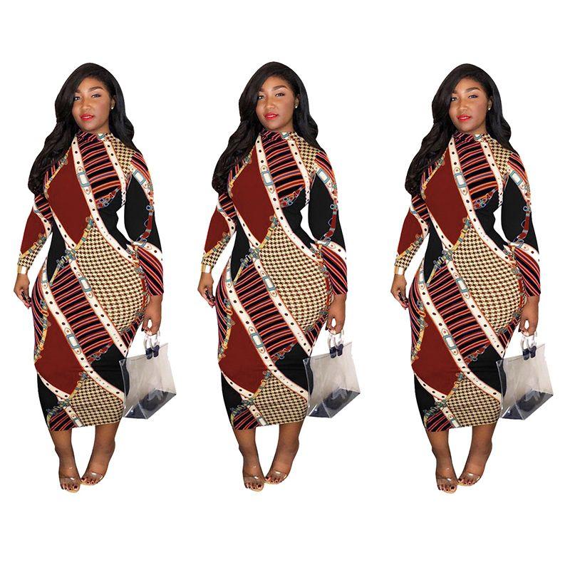Neuer beiläufiger Bleistiftrock kleidet reizvolles dünnes gedrucktes unsichtbares Reißverschlusskleid Hip Hop Maxi Verband Bodycon Frauen Plus Größen-dünnes Kleid S-3XL 809