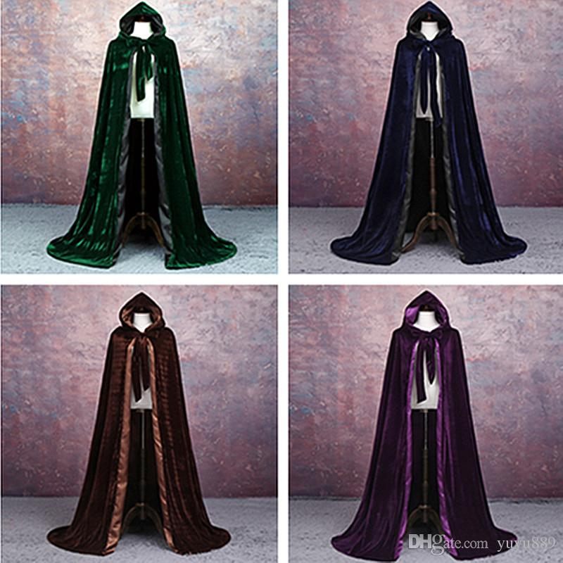 Adult Witch Long Halloween Cloaks Hood and Capes Halloween Costumes for Women Men Cosplay Costumes Velvet Cosplay Clothing
