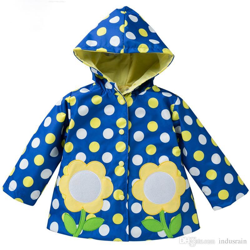Giacca per ragazzi primavera autunno 2018 Giacca per bambini Giacca per bambini Ricamo Girasole Impermeabile Cappotto Per bambini Vestiti per ragazze giacca a vento