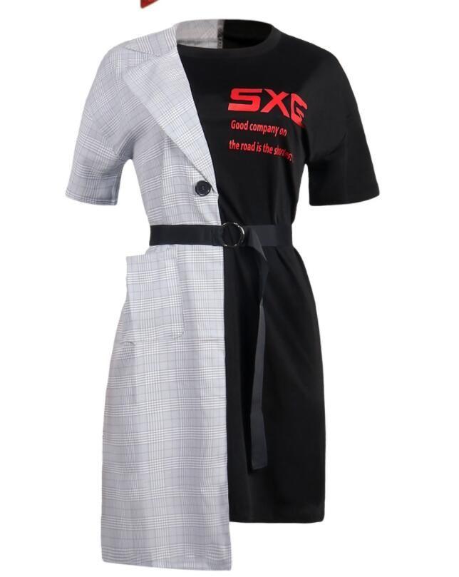 Acheter Tissu Coudre Deux Pièces Vêtements De Femme Fausse Robe Japon Harajuku Kawaii Robes Rétro Coréennes Pour Les Femmes Ceinture Plaid Lettre Robe