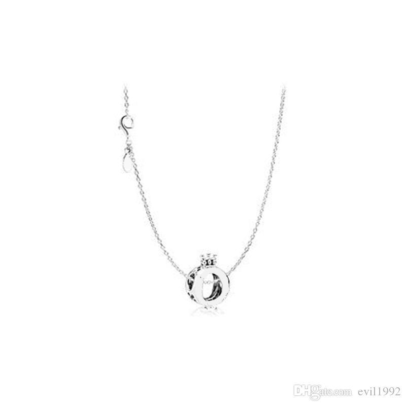 1 pcs gota frete liga coroa colar de pingente se encaixa pandora 45cm + 8cm cadeia mulheres mulheres aniversário chirstmas presente n002