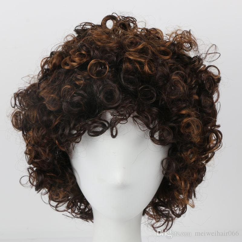 Short Brown Afro Kinky Curly Wigs For Black