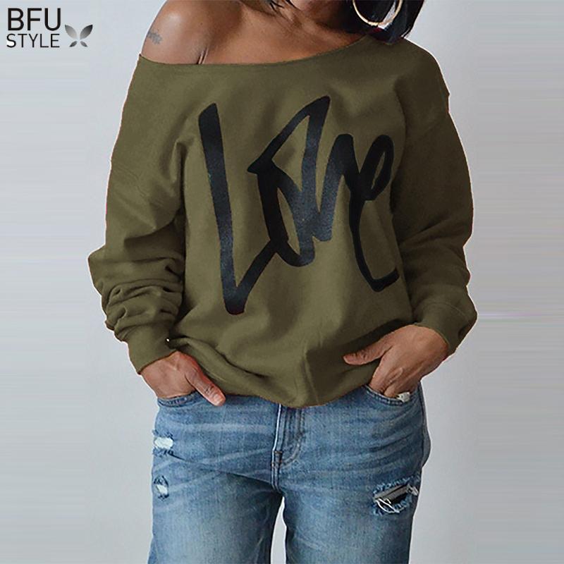 2018 большой размер женщины кофты Sexy LOVE Letter отпечатано с плеча с длинными рукавами пуловеры толстовки Осень Зима повседневная топы