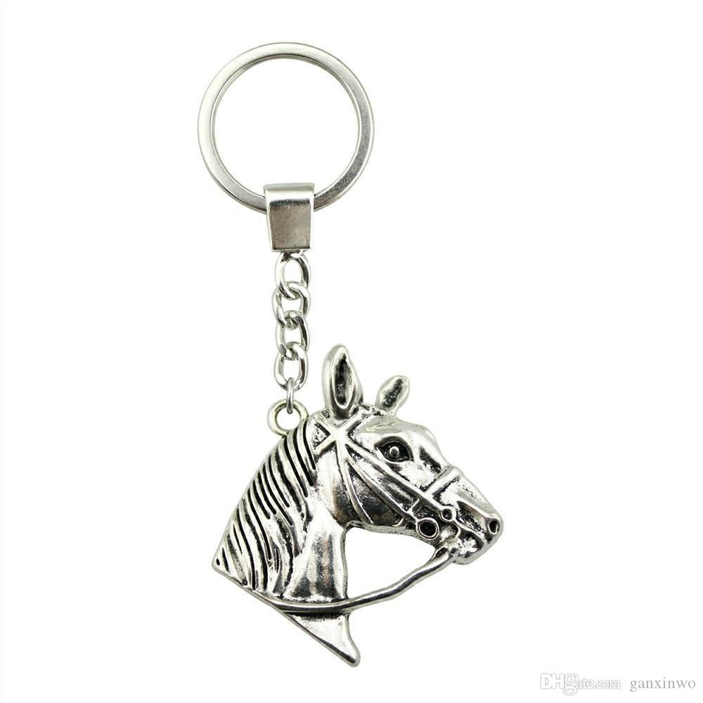 6 Pieces Key Chain Women Key Rings Fashion Keychains For Men Horse Head 37x36mm