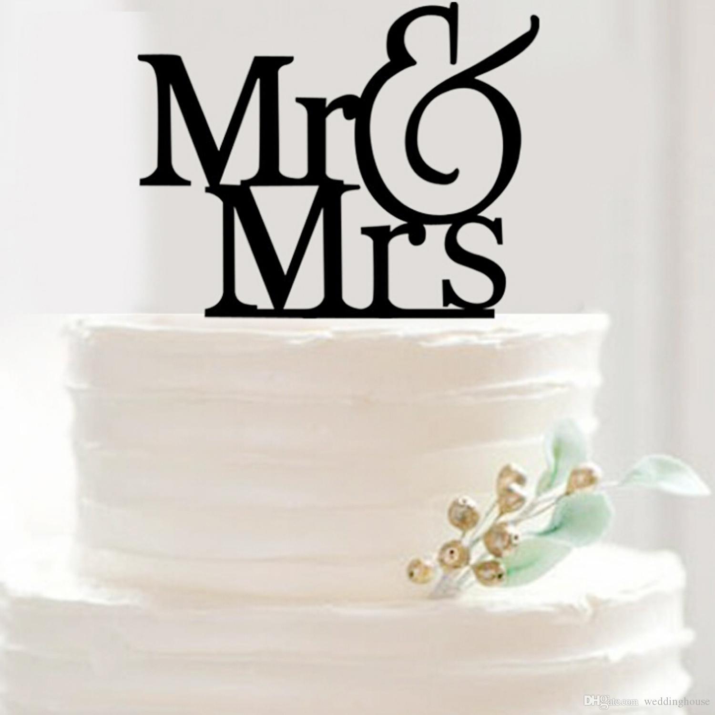 2019 Hotsale Feis wholesale arcylic Herr und Frau Worte eingefügt Karte Kuchen Topper Hochzeit Dekoration Kuchen Zubehör